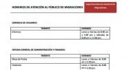 Horarios de Atención al Público – MIGRACIONES – Sede Central
