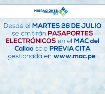 Oficina en el MAC Callao emitirá desde el 26 de julio pasaportes electrónicos previa cita gestionada ante el MAC